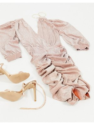 Ax Paris ruched sleeve plunge mini dress in rose gold glitter