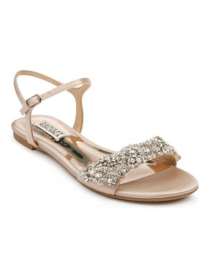 Badgley Mischka Carmella Bejeweled Silk Flat Sandals