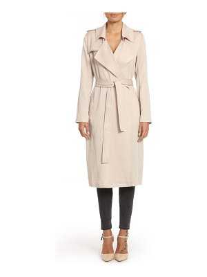 Badgley Mischka Collection badgley mischka faux leather trim long trench coat
