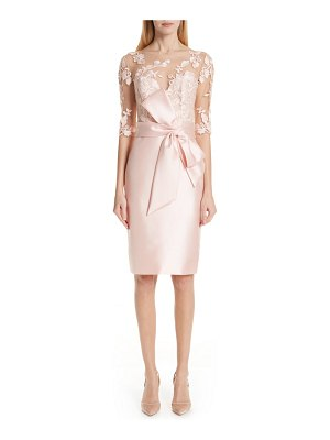 Badgley Mischka Collection badgley mischka lace accent bow cocktail dress