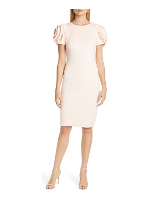 Badgley Mischka Collection rose sleeve cocktail dress