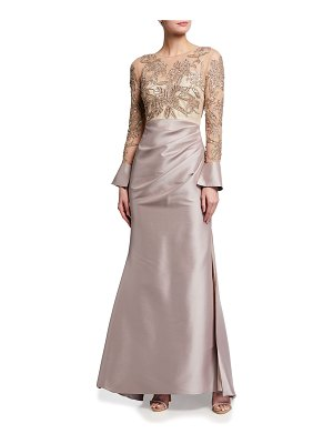 Badgley Mischka Collection Beaded Bodice Long-Sleeve Mikado Gown
