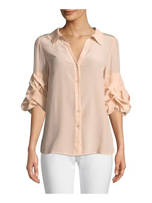 BADGLEY MISCHKA COLLECTION Crush-Sleeve Silk Blouse
