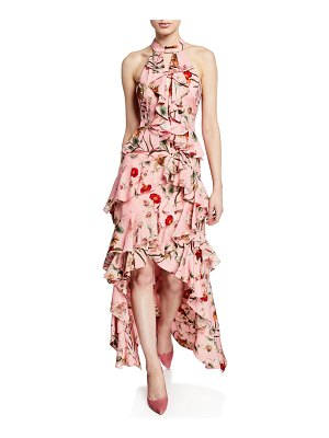 Badgley Mischka Collection Floral-Print High-Low Tiered Ruffle Halter Gown