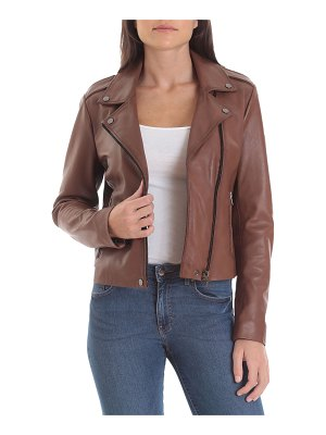 Badgley Mischka Collection Lamb Leather Biker Jacket