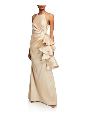 Badgley Mischka Collection Mikado Shirred-Bodice Side-Ruffle Halter Gown