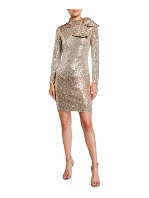 Badgley Mischka Collection Ombre Sequin Bow-Shoulder Long-Sleeve Dress