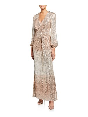 Badgley Mischka Collection Ombre Sequin Long-Sleeve Drape Gown