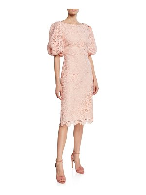 Badgley Mischka Collection Scallop-Lace High-Neck Balloon-Sleeve Cocktail Dress