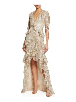 Badgley Mischka Collection Sequin Lace 1/2-Sleeve Tiered Ruffle High-Low Gown