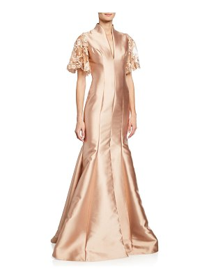 Badgley Mischka Collection V-Neck Lace-Sleeve Mermaid Gown