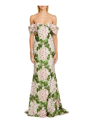 Badgley Mischka Couture badgley mischka couture off the shoulder floral embellished gown