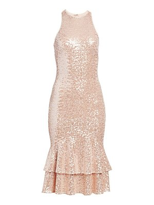 Badgley Mischka flutter sleeve ruched gown