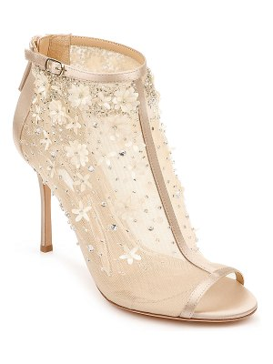 Badgley Mischka Olivia Embellished Satin Sandals