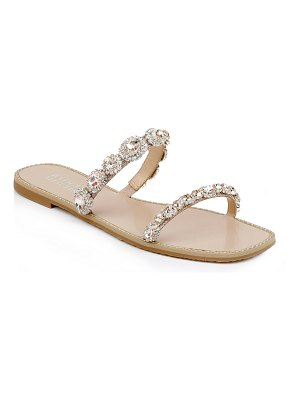Badgley Mischka Reed Jeweled Flat Slide Sandals