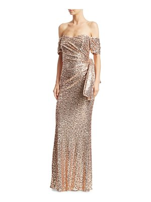 Badgley Mischka sequin bow back strapless gown