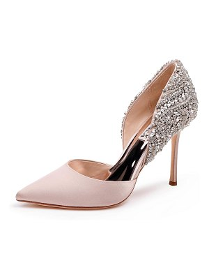 Badgley Mischka Volare Embellished Satin Pumps