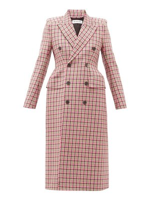Balenciaga hourglass double breasted checked wool coat