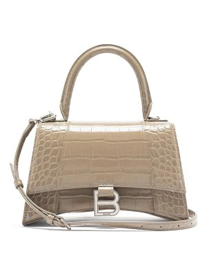 Balenciaga hourglass small crocodile-effect leather bag
