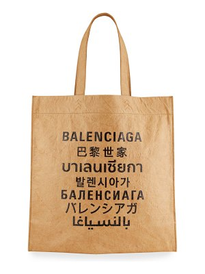 Balenciaga Language Logo Printed Shopper Tote Bag