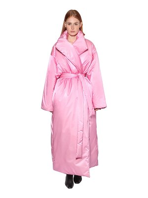 Balenciaga Long belted nylon satin puffer coat