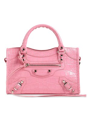 Balenciaga Mini city croc embossed leather bag