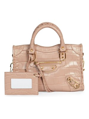Balenciaga nano city croc-embossed leather satchel