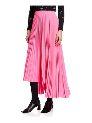 Balenciaga Pleated High-Low Crepe Skirt