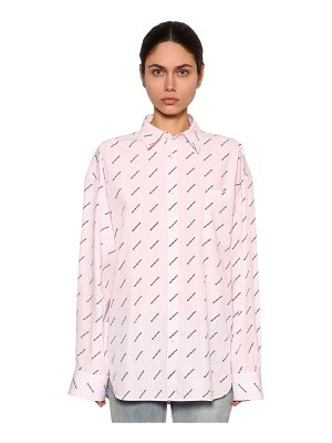 Balenciaga Striped allover logo cotton poplin shirt