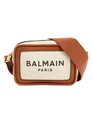 Balmain B-army canvas & leather camera bag