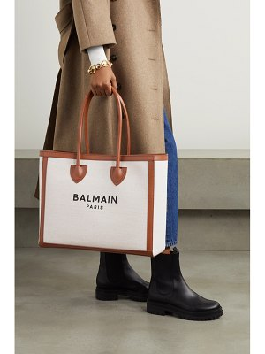 Balmain b-army large leather-trimmed cotton and linen-blend canvas tote