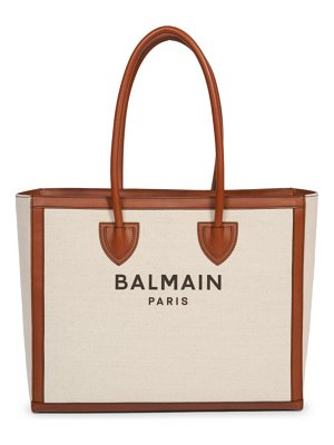 Balmain b-army leather-trimmed canvas tote