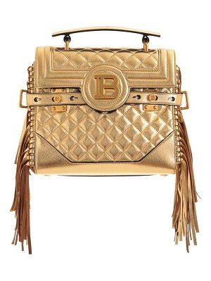Balmain b-buzz fringe quilted metallic leather top handle bag
