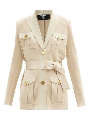 Balmain belted knitted jacket