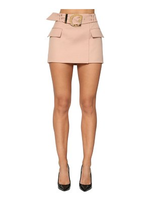 Balmain Belted wool grain de poudre mini skirt