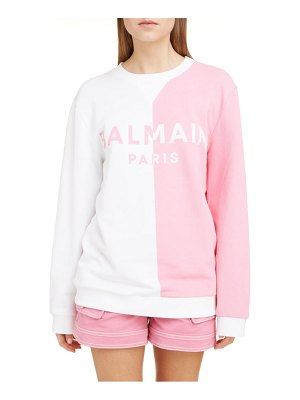 Balmain bicolor logo jacquard stretch cotton sweater