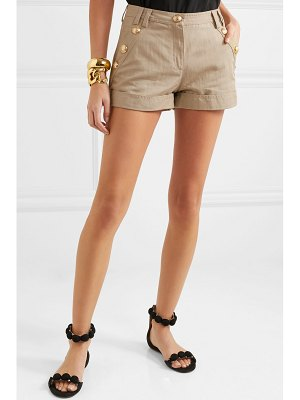 Balmain button-embellished cotton and linen-blend shorts