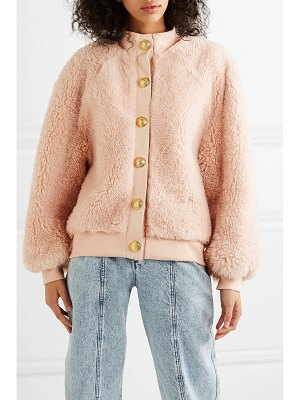 Balmain button-embellished leather-trimmed shearling jacket