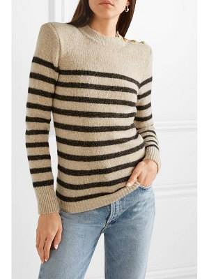 Balmain button-embellished metallic striped knitted sweater