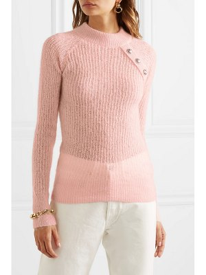 Balmain button-embellished ribbed mohair-blend sweater