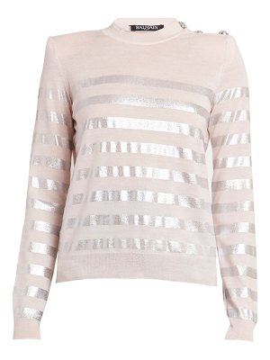 Balmain button shoulder silver stripe sweater