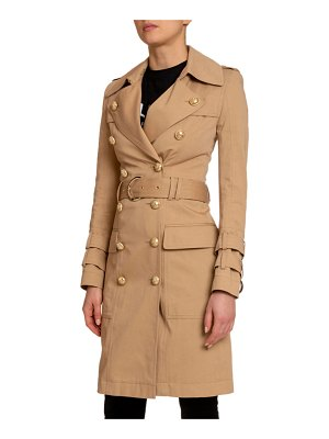Balmain Cotton Gabardine Belted Trench Coat