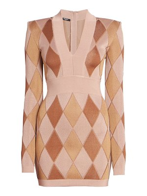 Balmain diamond jacquard v-neck mini dress