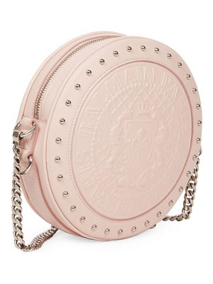 Balmain disco embossed leather circle crossbody bag