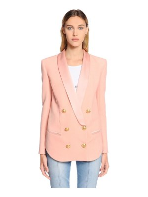 Balmain Double breasted satin & crepe blazer