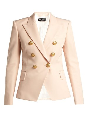 Balmain Double-breasted wool grain de poudre blazer