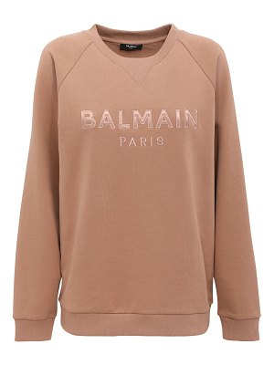 Balmain Embroidered logo cotton jersey sweater
