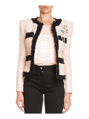 BALMAIN Four-Pocket Long-Sleeve Bicolor Tweed Jacket With Brooch Embellishment