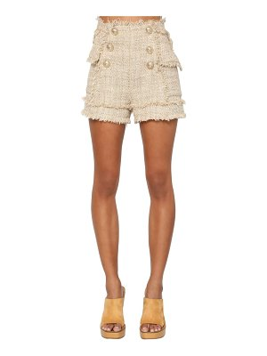 Balmain High waist cotton blend tweed shorts