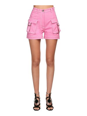 Balmain High waisted cotton denim cargo shorts